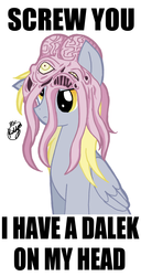 Size: 700x1362 | Tagged: safe, artist:kiddysa-bunnpire, derpy hooves, pegasus, pony, crossover, dalek, doctor who, female, kaled mutant, mare, reaction image