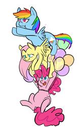 Size: 500x800 | Tagged: safe, artist:mt, fluttershy, pinkie pie, rainbow dash, balloon, chubby, fat, flutterdashpie