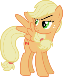 Size: 5500x6709 | Tagged: absurd res, applejack, artist:sapoltop, flapplejack, looking back, missing accessory, pegasus, pony, race swap, safe, simple background, solo, transparent background, vector