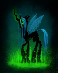 Size: 800x1000 | Tagged: dead source, safe, artist:laurenmagpie, queen chrysalis, changeling, changeling queen, female, glowing horn, solo