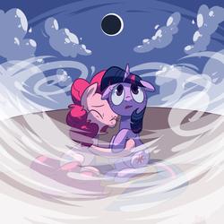 Size: 800x800 | Tagged: safe, artist:reuniclus, pinkie pie, twilight sparkle, eclipse, scared