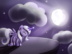 Size: 1600x1200 | Tagged: artist:fajeh, celestial mechanics, eyes closed, filly, moon, princess luna, safe, solo, woona