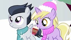 Size: 561x319 | Tagged: safe, artist:sillyfillystudios, screencap, dinky hooves, rumble, pegasus, pony, unicorn, clothes, colt, cup, female, hat, hot chocolate, male, rumbledink, scarf, snow, snowfall, snowflake, tuque