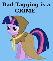Size: 525x600 | Tagged: safe, clover the clever, twilight sparkle, pony, unicorn, derpibooru, annoyed, blue background, derpibooru propaganda, frown, glare, meta, mouthpiece, simple background, solo, tagging, text