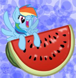 Size: 619x632 | Tagged: safe, artist:mischakins, rainbow dash, micro, solo, tiny ponies, watermelon
