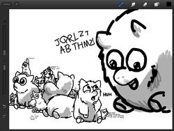 Size: 1024x768   Tagged: safe, artist:kmeb, fluffy pony, cotton fluffies, fluffy pony original art, runt