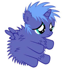Size: 900x1036 | Tagged: safe, artist:bronyboy, princess luna, fluffy pony, fluffy pony foal, lunafluff, woona