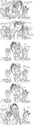 Size: 857x3100 | Tagged: safe, artist:mickeymonster, discord, nightmare moon, queen chrysalis, changeling, changeling queen, comic, cute, cutealis, discute, evil laugh, female, laughing, monochrome, nicemare moon