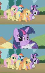 Size: 444x720 | Tagged: safe, edit, edited screencap, screencap, applejack, fluttershy, pinkie pie, rainbow dash, rarity, twilight sparkle, earth pony, pegasus, pony, unicorn, season 1, swarm of the century, applejack's hat, cowboy hat, facebomb, faic, floppy ears, hat, it's happened and now we can't stop it, mane six, meme, meme origin, origins, smiling, tenso, twiface, wrong neighborhood