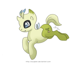 Size: 600x527 | Tagged: safe, artist:almairis, celebi, genderless, insect wings, legendary pokémon, pokémon, ponymon, simple background, solo, transparent background