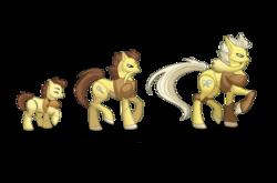 Size: 1280x843 | Tagged: safe, artist:almairis, abra, alakazam, kadabra, colt, crossover, evolution chart, facial hair, family, father and son, foal, long tail, male, moustache, pokémon, ponymon, simple background, stallion, transparent background, trio