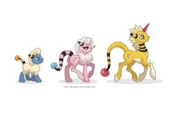 Size: 1280x914 | Tagged: safe, artist:almairis, ampharos, flaaffy, flaffy, mareep, colored horn, colt, crossover, evolution chart, family, female, foal, male, mare, pokémon, ponymon, simple background, socks (coat marking), stallion, transparent background, trio