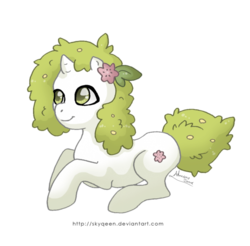 Size: 600x590 | Tagged: artist:almairis, crossover, flower, flower in hair, genderless, land forme, plant pony, pokémon, ponified, pony, ponymon, prone, safe, shaymin, simple background, solo, transparent background