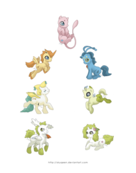 Size: 1280x1631 | Tagged: safe, artist:almairis, celebi, jirachi, manaphy, mew, pony, shaymin, victini, crossover, genderless, land forme, legendary pokémon, pokémon, ponified, ponymon, simple background, sky forme, transparent background