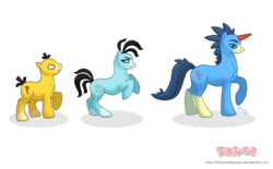 Size: 1280x796 | Tagged: safe, artist:almairis, golduck, psyduck, unicorn, colored horn, colt, crossover, evolution chart, family, female, foal, male, mare, pokémon, ponymon, shiny, shiny pokémon, simple background, stallion, transparent background