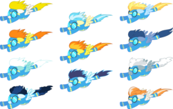 Size: 14001x8826 | Tagged: safe, artist:d4svader, blaze, fire streak, fleetfoot, high winds, lightning streak, misty fly, silver lining, silver zoom, soarin', spitfire, surprise, wave chill, pegasus, pony, absurd resolution, clothes, female, flying, goggles, male, mare, recolor, simple background, stallion, transparent background, uniform, vector, wonderbolts, wonderbolts uniform