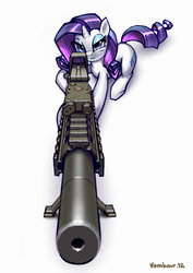 Size: 1995x2821 | Tagged: an/peq-15, ar15, artist:vombavr, cutie mark, eotech, female, gun, holographic sight, hooves, horn, looking at you, lying down, mare, picatinny rail, pony, rarity, rifle, safe, signature, simple background, sniper rifle, solo, suppressor, unicorn, weapon, white background