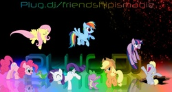 Size: 1600x860 | Tagged: safe, artist:thegreatfrikken, applejack, derpy hooves, fluttershy, gummy, pinkie pie, rainbow dash, rarity, spike, twilight sparkle, pegasus, pony, 3d, female, mane seven, mare, plug.dj