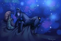 Size: 1348x913 | Tagged: safe, artist:fantazyme, princess luna, bed, sleeping, solo