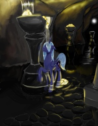 Size: 1084x1400 | Tagged: safe, artist:steamroller988, princess luna, alicorn, pony, female, folded wings, mare, solo, water, wet mane