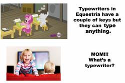 Size: 1196x800 | Tagged: safe, screencap, ruby pinch, truffle shuffle, earth pony, pony, ponyville confidential, colt, male, pony keyboard, typewriter