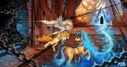 Size: 1200x635 | Tagged: safe, artist:ziom05, carrot top, derpy hooves, golden harvest, oc, oc:windigo queen, earth pony, giant spider, pegasus, pony, spider, derpy's and carrot top's journey, technically advanced