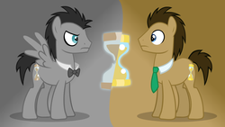 Size: 1280x720 | Tagged: safe, artist:theevilflashanimator, doctor whooves, time turner, earth pony, pegasus, pony, ask discorded whooves, ask, bowtie, discord whooves, discorded, discorded whooves, dual persona, duo, male, necktie, self ponidox, stallion, wallpaper