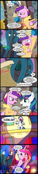 Size: 656x3000 | Tagged: safe, artist:madmax, princess cadance, queen chrysalis, shining armor, alicorn, changeling, changeling queen, unicorn, chrysarmordance, comic, ebola, exclamation point, female, funny aneurysm moment, futurama, hair curlers, hilarious in hindsight, interrobang, lesbian, luna witnesses, polygamy, question mark, shining armor gets all the mares, shining chrysalis, shiningcadance, shipping