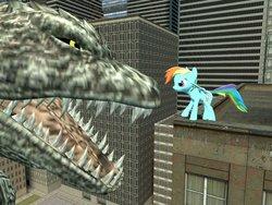 Size: 900x675 | Tagged: safe, artist:jjsonicblast86, rainbow dash, kaiju, 3d, crossover, gmod, godzilla, godzilla (series), godzilla 2000