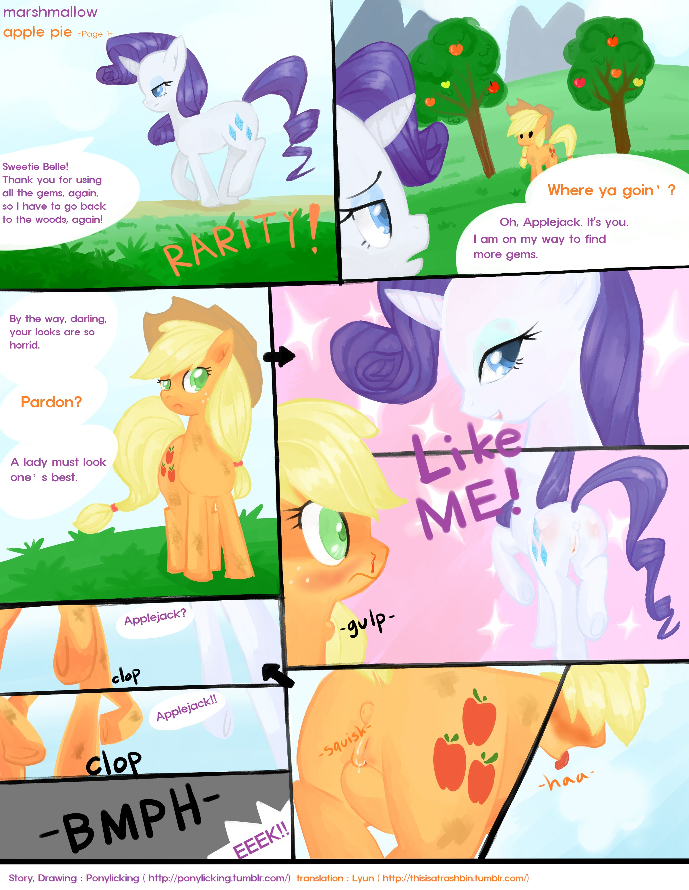 #93293   Applejack, Artist:ponylicking, Comic, Comic:marshmallow Apple Pie,  Earth Pony, Explicit, Female, Females Only, Lesbian, Mare, Marshmallow Apple  Pie ...
