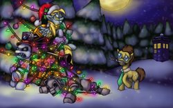 Size: 2576x1616 | Tagged: safe, derpy hooves, doctor whooves, time turner, cyber pony, cyberman, cyborg, pegasus, pony, crossover, dalek, doctor who, female, letter, mare, snowpony, the doctor