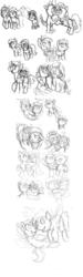 Size: 3000x10000 | Tagged: safe, artist:enigmaticfrustration, alula, apple bloom, aura (character), diamond tiara, dinky hooves, featherweight, lemon daze, lickety split, liza doolots, nursery rhyme, peachy pie, petunia, pipsqueak, pluto, pound cake, pumpkin cake, ruby pinch, rumble, scootaloo, shady daze, silver spoon, snails, snips, spike, strike, sunny daze, sweetie belle, tootsie flute, truffle shuffle, twist, oc, oc:ruby, earth pony, pegasus, pony, unicorn, story of the blanks, black and white, colt, feathersqueak, female, filly, gay, grayscale, incest, lesbian, male, monochrome, odd job, shipping, sketch, straight, tootsieshuffle
