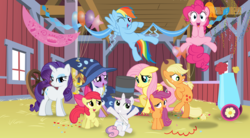 Size: 10879x6000   Tagged: safe, artist:eagle1division, apple bloom, applejack, fluttershy, pinkie pie, rainbow dash, rarity, scootaloo, sweetie belle, twilight sparkle, absurd resolution, cutie mark crusaders, party cannon, vector