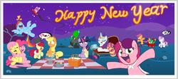 Size: 1658x739   Tagged: safe, artist:mrponiator, apple bloom, applejack, fluttershy, pinkie pie, rainbow dash, rarity, scootaloo, sweetie belle, twilight sparkle, oc, oc:anon, oc:marker pony, mlpg, rocket