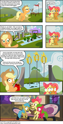 Size: 900x1755 | Tagged: apple bloom, apple bloom's bow, applejack, apple tree, artist:montyrohde, babs seed, barn, bipedal, book, bow, cargo net, cloud, comic, couch, crocodile, dish, earth pony, female, fez, filly, fire, flag, flaming hoops, floppy ears, freckles, frown, gate, hair bow, hat, hoof hold, hoops, looking at each other, looking at you, looking up, mare, mount midoriyama, net, night, ninja warrior, oc, older, open mouth, pointing, pony, raised hoof, ramp, reading, rug, safe, shrunken pupils, sitting, smiling, speech bubble, stairs, stars, swimming pool, table, tree, uchiha sasuke, unamused, underhoof
