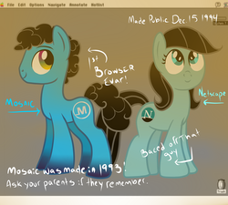 Size: 1280x1152 | Tagged: safe, pony, browser ponies, internet browser, mac os 7, macintosh, mosaic (browser), netscape, ponified, ponytail