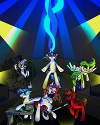 Size: 2316x2900 | Tagged: artist:22bubble-eyes22, both cutie marks, dj pon-3, earth pony, eurobeat brony, griffon, griffonsona, macbook, magic, microphone, musician, oc, oc:jackleapp, oc:mic the microphone, oc:the living tombstone, oc:wooden toaster, pegasus, pony, ponysona, safe, unicorn, vinyl scratch