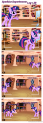 Size: 720x2050 | Tagged: safe, artist:navitaserussirus, trixie, twilight sparkle, mouse, clone, comic, mousified, science, self ponidox, sparkles experiments, species swap, twolight