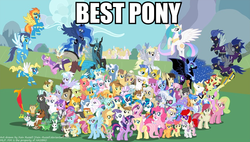 Size: 868x493 | Tagged: safe, allie way, aloe, amethyst star, angel bunny, apple bloom, applejack, berry punch, berryshine, big macintosh, blossomforth, bon bon, braeburn, caramel, carrot cake, carrot top, cheerilee, cloudchaser, cup cake, daisy, daring do, derpy hooves, descent, diamond tiara, dinky hooves, discord, dj pon-3, doctor whooves, donut joe, fancypants, featherweight, flam, fleur-de-lis, flim, flitter, fluttershy, gilda, golden harvest, granny smith, gummy, hoity toity, lily, lily valley, lotus blossom, lyra heartstrings, mayor mare, minuette, nightshade, nurse redheart, octavia melody, owlowiscious, philomena, photo finish, pinkie pie, pokey pierce, pound cake, prince blueblood, princess cadance, princess celestia, princess luna, pumpkin cake, queen chrysalis, rainbow dash, rarity, roseluck, sapphire shores, scootaloo, screwball, shining armor, silver spoon, snails, snips, soarin', spike, spitfire, surprise, sweetie belle, sweetie drops, tank, thunderlane, time turner, trixie, twilight sparkle, twist, vinyl scratch, wild fire, winona, zecora, alicorn, dragon, earth pony, griffon, pegasus, phoenix, pony, unicorn, zebra, :p, best pony, clothes, colt, costume, everyone, everypony, female, filly, flying, foal, frown, g1, g1 to g4, generation leap, glare, glasses, good end, grin, group shot, hat, image macro, lidded eyes, looking at you, male, mare, one eye closed, open mouth, poster, raised eyebrow, raised hoof, royal guard, self ponidox, shadowbolts, shadowbolts costume, smiling, smirk, so much pony, spread wings, squee, stallion, tongue out, wink