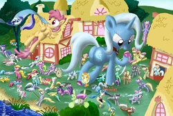 Size: 6000x4000 | Tagged: safe, artist:noctulov, allie way, aloe, ambrosia, amethyst star, apple bloom, berry punch, berryshine, blossomforth, bluebell, bon bon, candy mane, carrot top, charcoal bakes, cheerilee, cherry berry, cindy block, cloud kicker, cloudchaser, cup cake, daisy, derpy hooves, dizzy twister, dj pon-3, dust devil, flitter, gala appleby, golden harvest, lemon hearts, lemony gem, lightning bolt, lily, lily valley, linky, lotus blossom, lyra heartstrings, mayor mare, merry may, minuette, mjölna, nurse redheart, nurse sweetheart, octavia melody, orange swirl, parasol, pink lady, rainbowshine, roma, roseluck, sassaflash, scootaloo, sea swirl, seafoam, serena, shoeshine, silver spanner, sparkler, spitfire, spring melody, sprinkle medley, sunshower raindrops, sweetie belle, sweetie drops, trixie, twinkleshine, vinyl scratch, white lightning, winter withers, earth pony, pegasus, pony, unicorn, :3, absurd resolution, alicorn amulet, apple family member, background pony, building, butt, cartoon physics, cartoon violence, cutie mark crusaders, destruction, everypony, female, fishing, flattened, giant pony, giantess, grin, hooves, house, houses, macro, mare, panic, plot, ponyville, rampage, running, scared, screaming, slasher smile, smiling, squashed, the horror, wide eyes