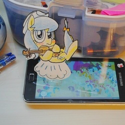 Size: 519x519 | Tagged: safe, artist:danadyu, fiddlesticks, apple family member, ask, background pony, paper child, phone, photo, traditional art, tumblr