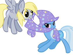 Size: 800x600 | Tagged: safe, artist:katastrofuck, derpy hooves, trixie, pegasus, pony, female, magic, mare
