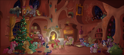 Size: 5000x2215 | Tagged: safe, artist:stinkehund, apple bloom, applejack, big macintosh, cheerilee, derpy hooves, fluttershy, lyra heartstrings, pinkie pie, rainbow dash, rarity, scootaloo, spike, sweetie belle, twilight sparkle, dragon, earth pony, pegasus, pony, unicorn, applepie, book, bridle, cheerimac, christmas, christmas tree, collar, cutie mark crusaders, dark, detailed, female, fireplace, flutterbloom, flying, golden oaks library, holly, holly mistaken for mistletoe, interior, leash, lesbian, library, lyrabon, male, mane seven, mane six, mare, painting, riding, rope, saddle, scootaloo can't fly, shipping, sleeping, sparity, straight, tack, tree, twidash, unicorn twilight, vector