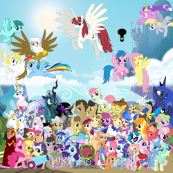 Size: 2000x2000   Tagged: safe, artist:smwstudios, apple bloom, applejack, babs seed, berry punch, berryshine, big macintosh, bon bon, caramel, carrot top, catrina, cheerilee, daisy, derpy hooves, diamond tiara, discord, dj pon-3, doctor whooves, fancypants, firefly, flam, fleur-de-lis, flim, fluttershy, gilda, glory, golden delicious, golden harvest, granny smith, hoity toity, king sombra, lyra heartstrings, mayor mare, megan williams, minty, minuette, octavia melody, photo finish, pinkie pie, posey, prince blueblood, princess cadance, princess celestia, princess luna, queen chrysalis, rainbow dash, rarity, roseluck, sapphire shores, scootaloo, screwball, shining armor, silver spoon, spike, spring melody, sprinkle medley, sundance, surprise, sweetie belle, sweetie drops, time turner, trixie, twilight sparkle, twist, vinyl scratch, oc, oc:fausticorn, earth pony, griffon, pony, g1, 30th anniversary, apple family member, bedroom eyes, bowtie, cloud, cloudy, cutie mark crusaders, everypony, flim flam brothers, flying, g1 to g4, generation leap, glare, grin, happy, hug, lauren faust, looking at you, male, open mouth, smiling, smirk, so much pony, spread wings, stallion, wink