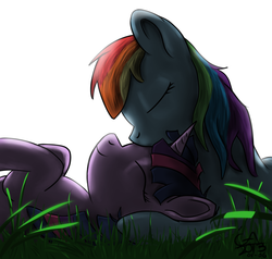 Size: 1000x950 | Tagged: artist:gamesadict, cute, eyes closed, female, grass, kissing, lesbian, nuzzling, on back, prone, rainbow dash, safe, shipping, smiling, twidash, twilight sparkle