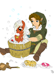 Size: 2522x3450 | Tagged: safe, artist:amostheartman, earth pony, pony, bath, boat, bubble, bubble bath, bucket, crossover, cute, epona, eponadorable, female, floating, happy, hnnng, link, mare, open mouth, ponified, rubber duck, saddle, simple background, sitting, smiling, soap, sponge, the legend of zelda, wet, wet mane