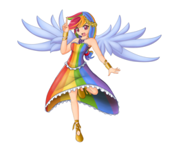 Size: 2328x1974 | Tagged: safe, artist:angriestangryartist, artist:ppgxrrb-fan, rainbow dash, anime, armpits, clothes, dress, gala dress, humanized, solo, winged humanization