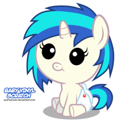 Size: 4697x4880   Tagged: safe, artist:austiniousi, dj pon-3, vinyl scratch, pony, unicorn, absurd resolution, baby, baby pony, female, filly, foal, hooves, horn, simple background, solo, text, transparent background, vector, younger