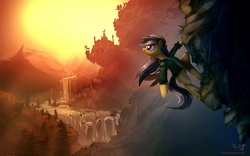 Size: 1920x1200 | Tagged: safe, artist:vest, daring do, pony, badass, bipedal, cliff, climbing, epic, female, scenery, scenery porn, technically advanced, wallpaper, waterfall