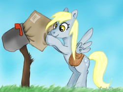 Size: 350x262 | Tagged: safe, artist:littlepirate, derpy hooves, pegasus, pony, female, mail, mailbox, mare, package, saddle bag, solo